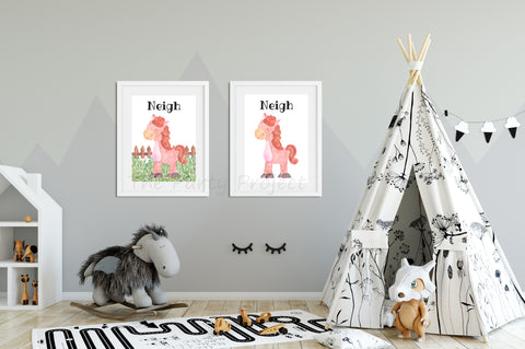 "DIY PRINTABLE Horse wall art | Digital Download | Farm animals nursery | Farm Printables kids rooms decor | 8"" x 10"" Horse - Neigh watercolor print art!"