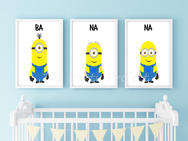 Minions wall art | Despicable Me Printable wall decorations - DIY Home, nursery and kids room decor.
