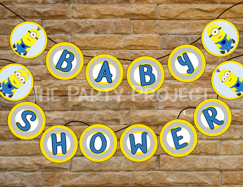 Minion baby shower banner | despicable me party printables