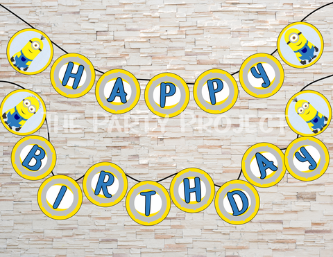 Minion birthday banner | Despicable me party printables