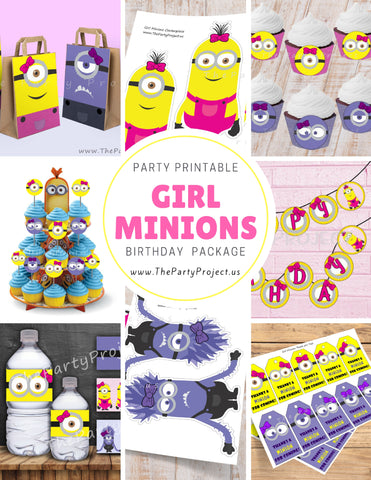 Girl Minion party package | Despicable me party printables!