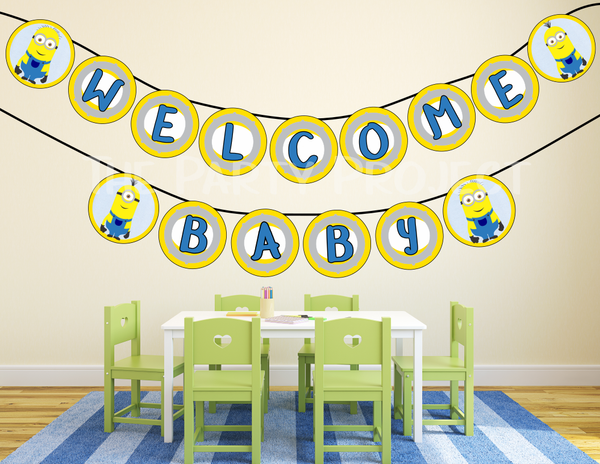 Minion welcome baby banner | despicable me baby shower printables