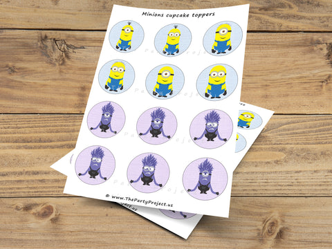 despicable me cupcake toppers | minion party printables