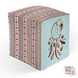 Boho Dream catcher  Ottoman Pouf, Bohemian room decor