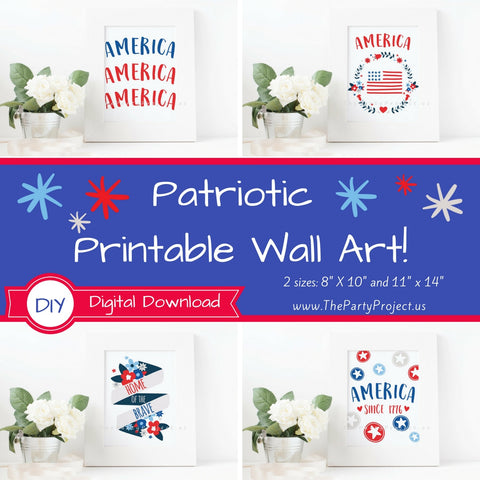 Patriotic wall art | America Printable wall decorations - DIY Home decor.