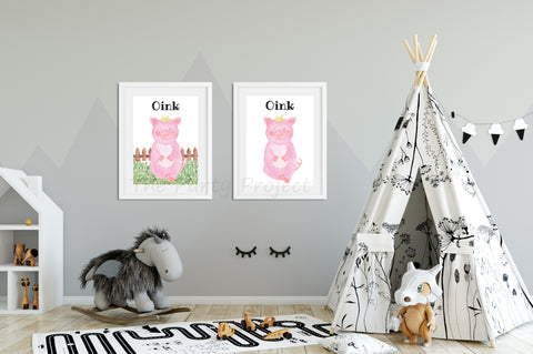 "DIY PRINTABLE Pig wall art | Digital Download | Farm animals nursery | Farm Printables kids rooms decor | 8"" x 10"" Pig - Oink watercolor print art!"