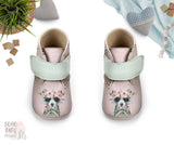 Boho Raccoon Baby Shoes, Girl Woodland Baby Booties