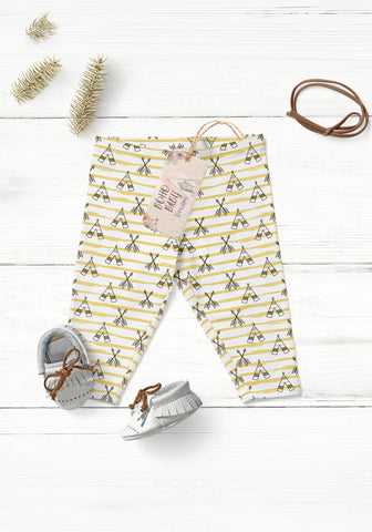 Teepee stripes Yellow Baby Leggings | Boho Style Baby Clothes!