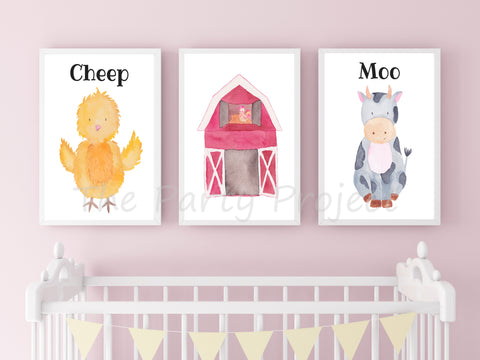 "DIY PRINTABLE 6 Barnyard wall art | Digital Download | Farm nursery | Farm Printable kids room | 8"" x 10"" Farm animals watercolor print art!"