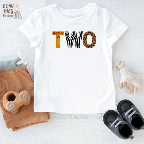 Two Animal Print Toddler Shirt, Safari 2nd birthday outfit