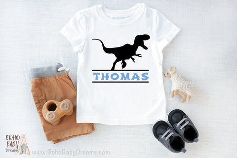PERSONALIZED Name Dinosaur Baby T-Shirt, Custom Baby Boy Clothes