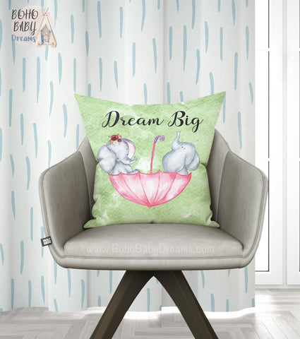 Dream Big Throw Pillows, Elephant Nursery Decorations