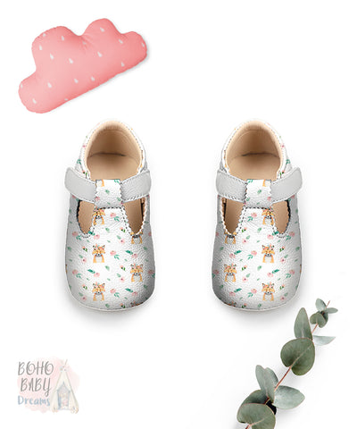 Boho Fox Baby Shoes, Girl Woodland Toddler Strap Shoes