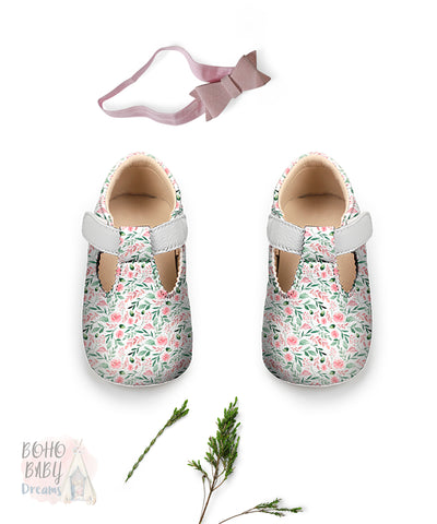 Watercolor Floral  Baby Shoes, Girl Woodland Toddler Strap Shoes