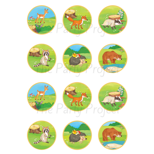 "DIY party PRINTABLE Woodland cupcake toppers | Digital Download | 2"" Forest creatures cupcake picks!"
