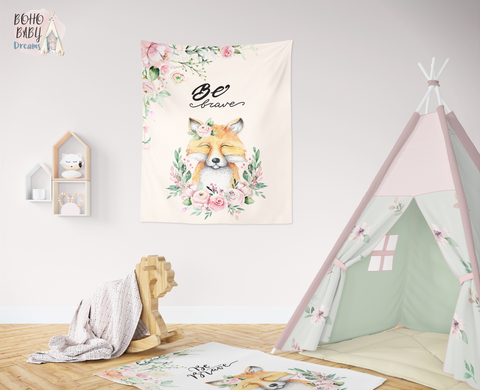 Boho Fox Tapestries, Woodland Nursery