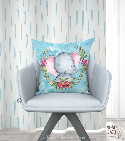 Watercolor Elephant Throw Pillows, Boy Nursery Decorations