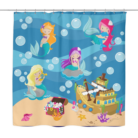 Mermaid Shower Curtain - Girls Bathroom decor - Toddler Show - Mermaid Bathroom decor - Girl Bathroom - Birthday Gift!
