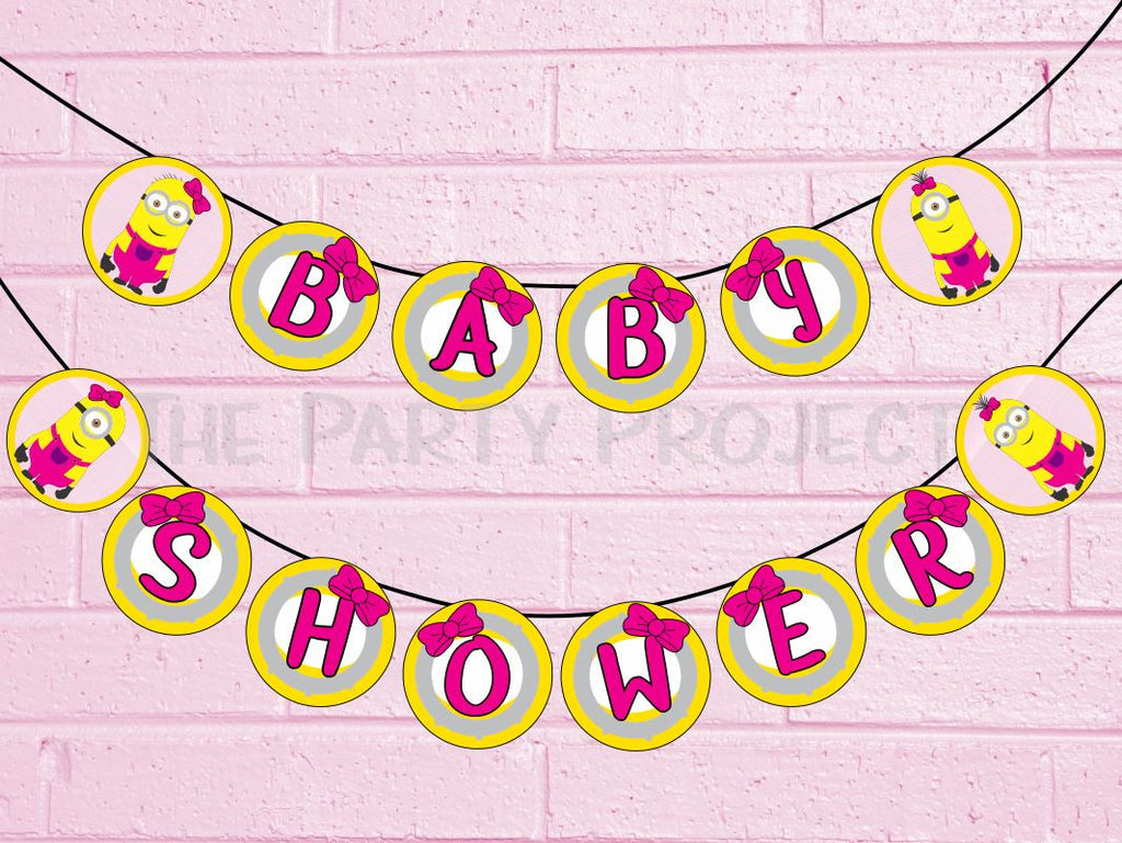 "DIY PRINTABLE Girl Minions ""Baby Shower"" Banner + Garland 