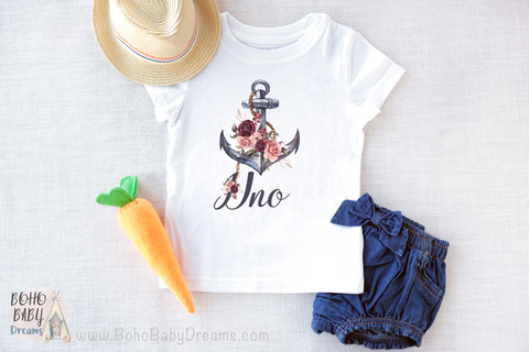 Uno Nautical anchor Baby shirt, Sailing First Birthday Girl Shirt