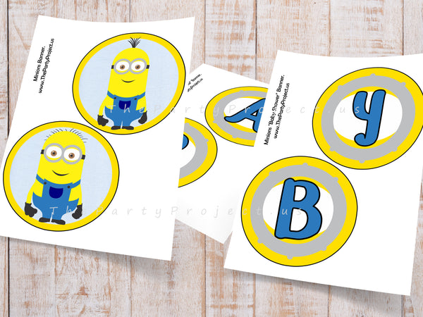 Imprimibles baby shower minions gallardete
