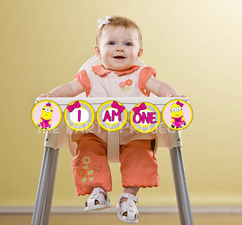 "DIY PRINTABLE Girl Minions ""I AM ONE' Banner 