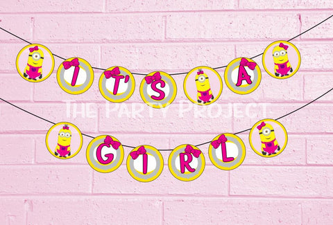 its a girl minion banner | despicable me baby shower printables