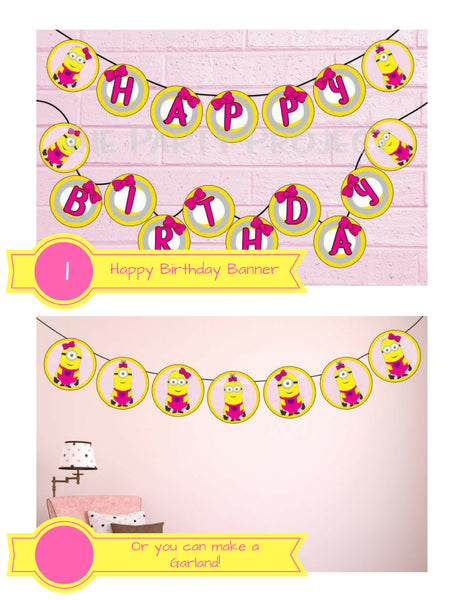 THE PARTY PROJECT | Girly minions birthday banner + garland
