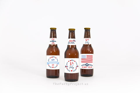 DIY PRINTABLE 4th Of July Beer Bottle Labels + Beer neck | Fourth of July party printables.