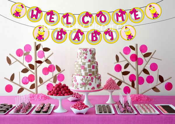 girl minion welcome baby banner | despicabe me baby shower party printables