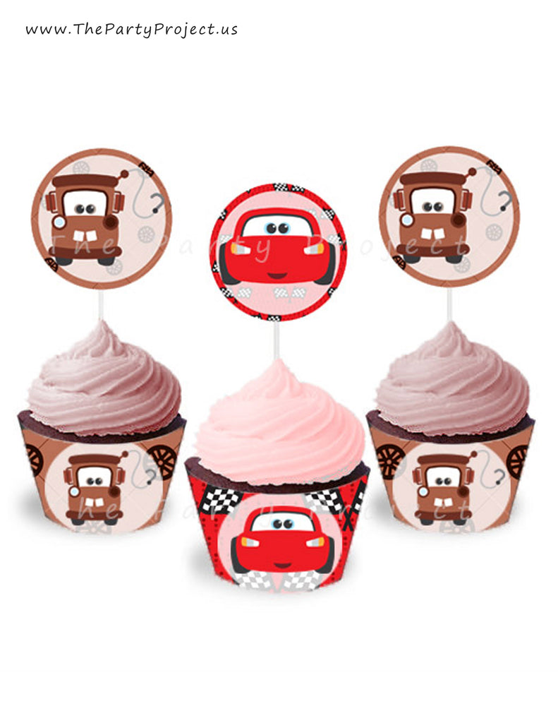 THE PARTY PROJECT | Lightning McQueen and Mater cupcake toppers and wrappers set! - Cars party printables