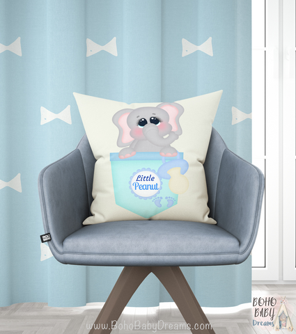 Elephant Little Peanut Pillow | Nursery Spun Square Cushion!