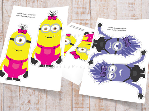 DIY PRINTABLE Girl Minions Centerpiece | Pink Minion birthday party or baby shower decor!