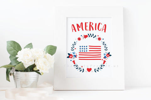 American flag wall art | Patriotic Printable wall decorations - DIY Home decor.