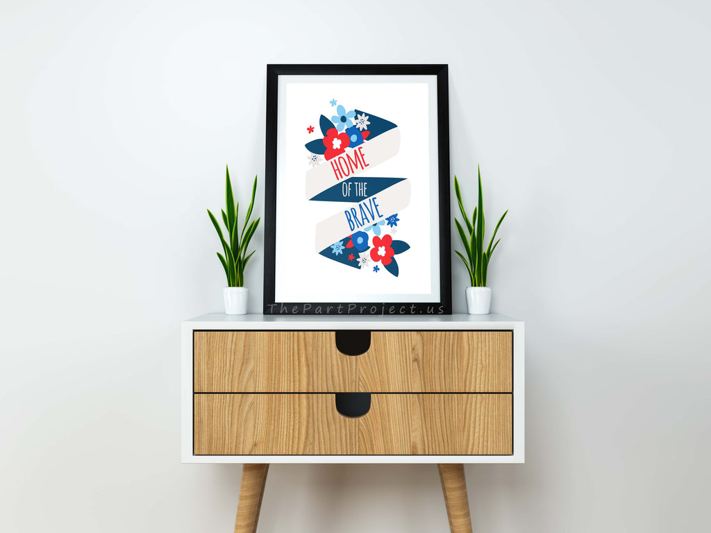 Diy printable home of the brave wall art patriotic home for Patriotic home decorations