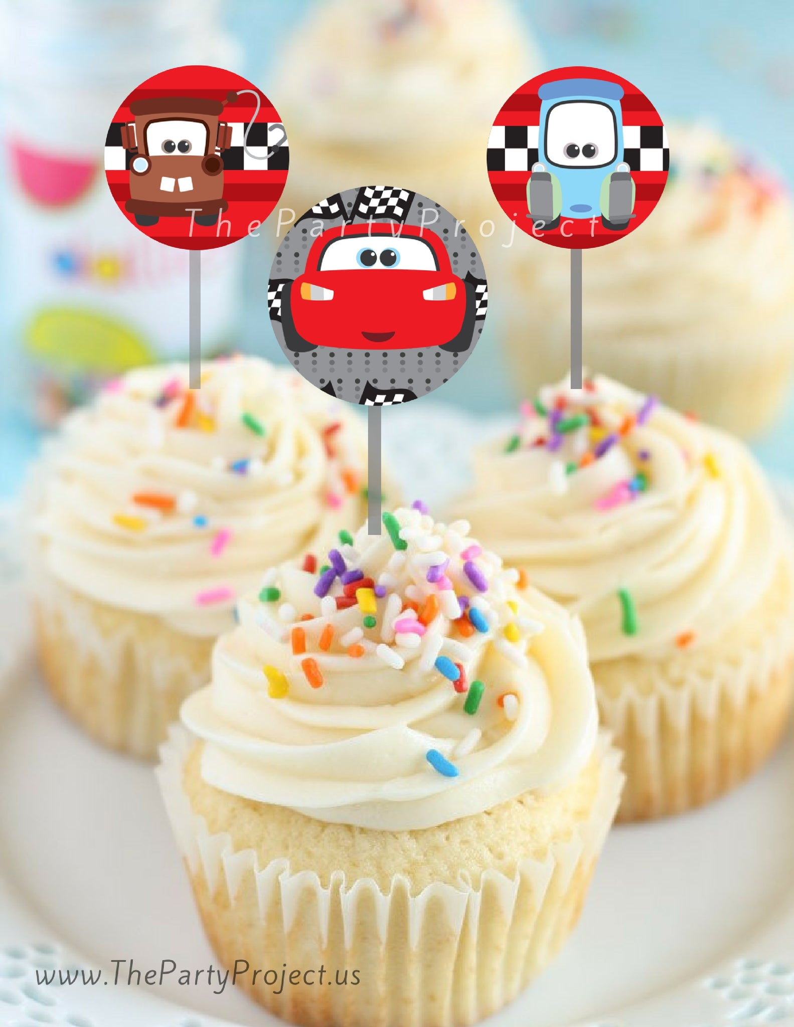 THE PARTY PROJECT DIY Printable Cars Cupcake Toppers Cupcake
