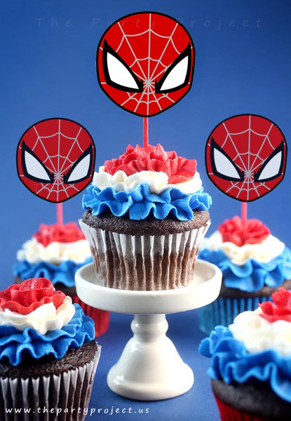THE PARTY PROJECT | Spider-man printables cupcake toppers