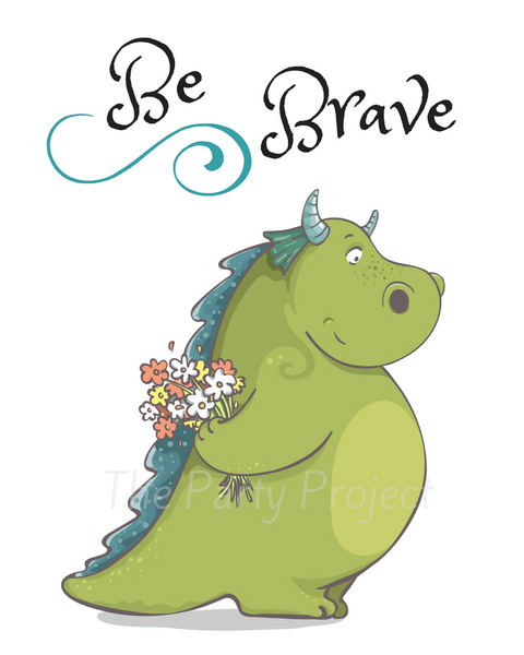 "DIY PRINTABLE Dragon wall art | Digital Download | Fairy Tale nursery | Printable kids rooms decor | 8"" x 10"" Be Brave print art!"