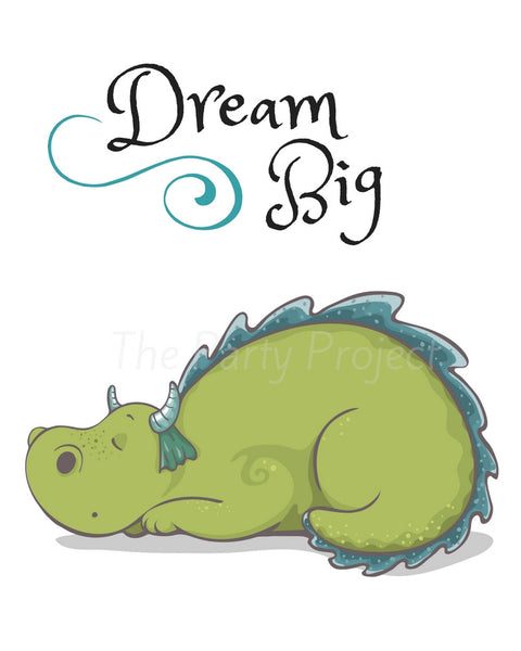 Dream Big - Dragons wall art | Dragon and princesses Printable wall decorations - DIY Home, nursery and kids room decor.