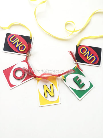 "UNO Themed High Chair banner | UNO First birthday Party - ""ONE"" Pennant!"