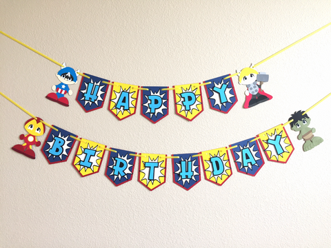 "Vengeance heroes ""Happy Birthday"" banner 