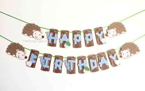 "Hedgehog ""Happy Birthday"" banner 
