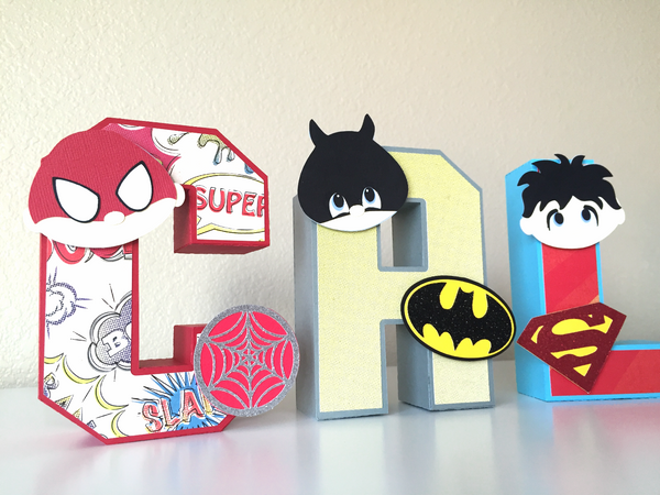 "Superheroes 3D Letters 5.5""H 