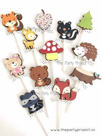 12 Woodland creatures Cupcake Toppers | Forest - Woodland themed party cupcake picks.