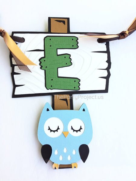 "Woodland creatures High Chair banner | Forest themed first birthday ""ONE"" Pennant!"