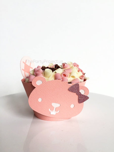 12 Girl Woodland cupcake wrappers | Pink Forest animals -Woodland party cupcake liners.