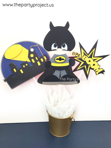 Bat Hero Centerpiece | Comics book Superhero themed birthday party décor.