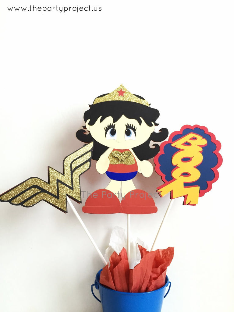 Wonder Woman Centerpiece | Girl Superhero birthday - Baby shower | Nursery decor.