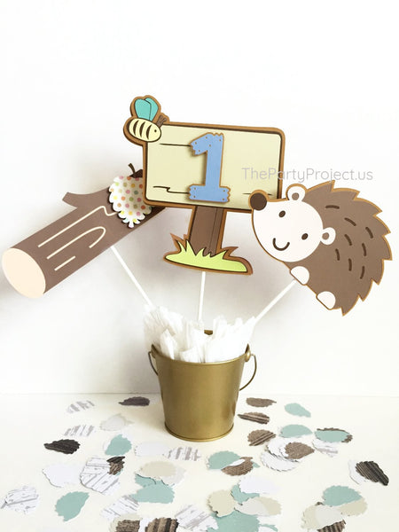 Hedgehog centerpiece | Forest animals -woodland party décor.