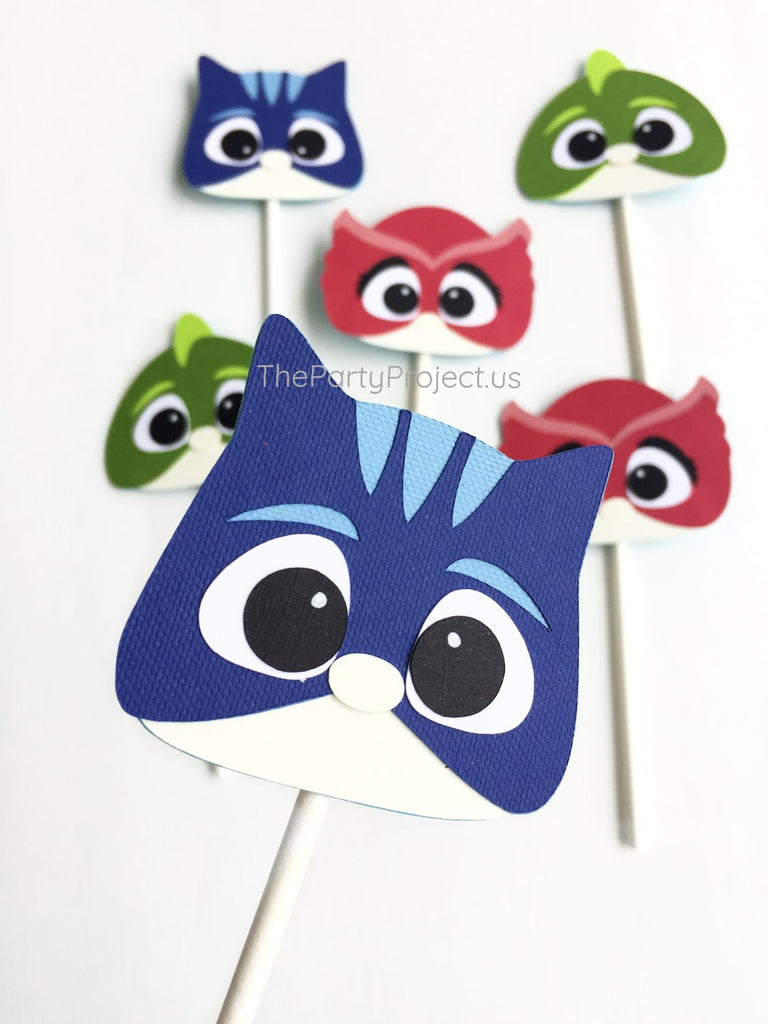PJ Masks cupcake toppers | PJMasks party cupcake picks.